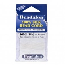 Beadalon® 100% Silk Bead Cord with Needle Size 04 (.024in/0.60mm) White (2m/6.5ft)
