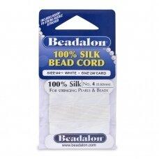 Beadalon® 100% šilkinė virvelė karoliukams (su adata) 04 dydis (.024in/0.60mm) White (balta) (2m/6.5ft)