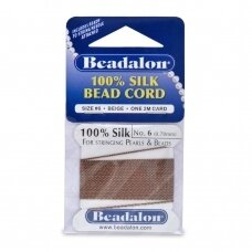 Beadalon® 100% šilkinė virvelė karoliukams (su adata) 06 dydis (.028in/0.70mm) Beige (2m/6.5ft)