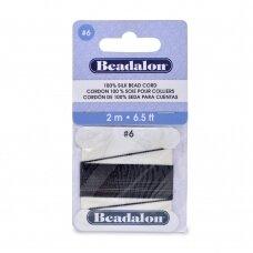 Beadalon® 100% šilkinė virvelė karoliukams (su adata) 06 dydis (.028in/0.70mm) Black (juoda) (2m/6.5ft)