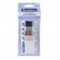 Beadalon® 100% šilkinė virvelė karoliukams (su adata) 06 dydis (.028in/0.70mm) Black (juoda), Beige, Brown (ruda), Grey (pilka), White (balta) (2m/6.5ft kiekviena)