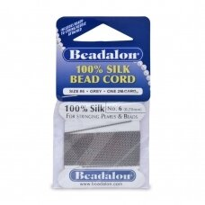 Beadalon® 100% Silk Bead Cord with Needle Size 06 (.028in/0.70mm) Grey (2m/6.5ft)