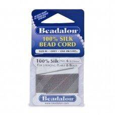 Beadalon® 100% šilkinė virvelė karoliukams (su adata) 06 dydis (.028in/0.70mm) Grey (pilka) (2m/6.5ft)