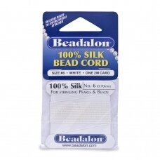 Beadalon® 100% Silk Bead Cord with Needle Size 06 (.028in/0.70mm) White (2m/6.5ft)