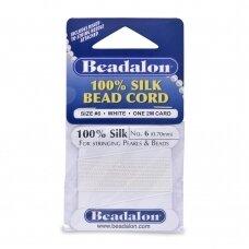 Beadalon® 100% šilkinė virvelė karoliukams (su adata) 06 dydis (.028in/0.70mm) White (balta) (2m/6.5ft)