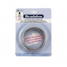 Beadalon® 316L apvali vielutė iš nerūdijančio plieno 20 diametras/0.81mm (6m)
