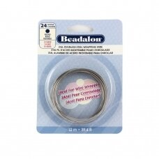 Beadalon® 316L apvali vielutė iš nerūdijančio plieno 24 diametras/0.51mm (12m)