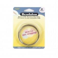 Beadalon® 316L kvadratinė vielutė iš nerūdijančio plieno 21 diametras/0.72mm (4.5m)
