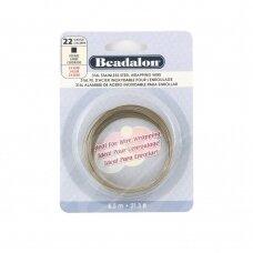 Beadalon® 316L kvadratinė vielutė iš nerūdijančio plieno 22 diametras/0.64mm (6.5m)