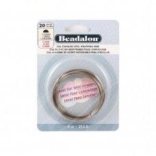 Beadalon® 316L pusiau apvali vielutė iš nerūdijančio plieno 20 diametras/0.81mm (9m)