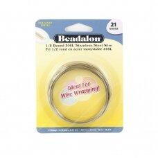 Beadalon® 316L pusiau apvali vielutė iš nerūdijančio plieno 21 diametras/0.72mm (12m)