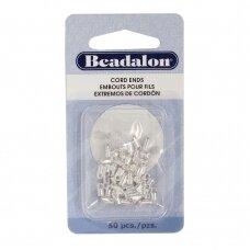 Beadalon® antgaliai virvelei lengvi (Light) 1.9mm padengti sidabru (50 vnt)