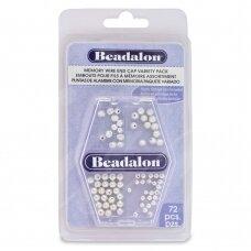 Beadalon® apvalūs antgaliai vielutei su atimintimi 3mm 4mm padengti sidabru (72 vnt)