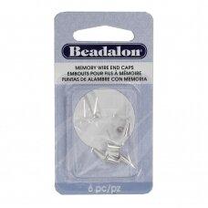 Beadalon® apvalūs antgaliai vielutei su atimintimi 6.5mm White (balti) (6 vnt)