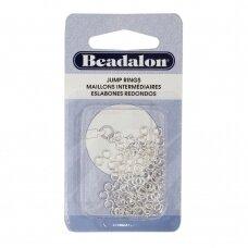 Beadalon® apvalūs atviri žiedeliai/kilputės 4mm padengti sidabru (80 vnt)
