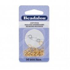 Beadalon® apvalūs atviri žiedeliai/kilputės 6mm aukso spalvos (50 vnt)