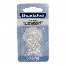 Beadalon® apvalūs atviri žiedeliai/kilputės 6mm padengti sidabru (50 vnt)