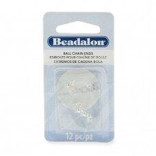 Beadalon® apvalūs galiukai grandinėlėms 3.8mm padengti sidabru (12 vnt)