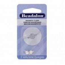 Beadalon® apvalūs magnetinis užsegimai 6mm padengti sidabru (2 vnt)
