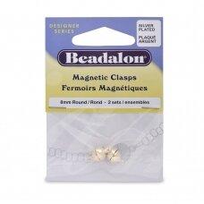 Beadalon® apvalūs magnetinis užsegimai 8mm padengti sidabru (2 vnt)