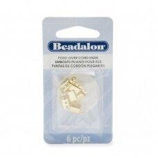 Beadalon® atlenkiami antgaliai virvelėms 4.4x11.5mm aukso spalvos (6 vnt)