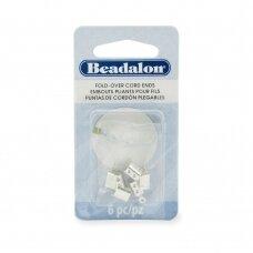 Beadalon® atlenkiami antgaliai virvelėms 4.4x11.5mm padengti sidabru (6 vnt)