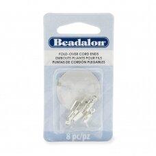 Beadalon® atlenkiami antgaliai virvelėms 4.6x12mm padengti sidabru (8 vnt)