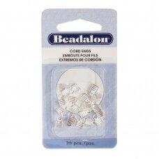 Beadalon® atlenkiami antgaliai virvelėms 4mm padengti sidabru (20 vnt)