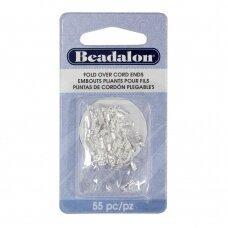 Beadalon® atlenkiami antgaliai virvelėms 6.7mm padengti sidabru (55 vnt)