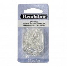 Beadalon® auskarų kabliukai 25mm padengti sidabru (20 vnt)