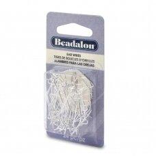 Beadalon® auskarų kabliukai 35mm padengti sidabru (24 vnt)
