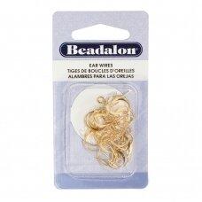 Beadalon® auskarų kabliukai su kilpute aukso spalvos (20 vnt)