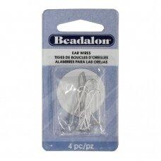 Beadalon® auskarų kabliukai su užspaudžiama dalimi 25mm padengti sidabru (4 vnt)