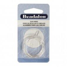 Beadalon® auskarų lankeliai ringės dideli (Large) 30mm padengti sidabru (12 vnt)