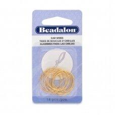Beadalon® auskarų lankeliai ringės maži (Small) 20mm aukso spalvos (14 vnt)