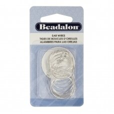Beadalon® auskarų lankeliai ringės maži (Small) 20mm padengti sidabru (16 vnt)