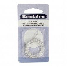 Beadalon® auskarų lankeliai ringės vidutiniai (Medium) 25mm padengti sidabru (14 vnt)