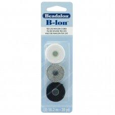 Beadalon® B-Lon™ nailoninė virvelė .020in/0.5mm Black (juoda), Grey (pilka), White (balta) (18m/20yd kiekviena)