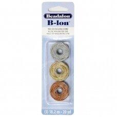 Beadalon® B-Lon™ nailoninė virvelė .020in/0.5mm Copper (varios spalvos), Gold (aukso spalvos), Silver (sidabro spalvos) (18m/20yd kiekviena)