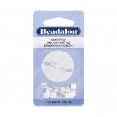 Beadalon® C-Crimp antgaliai virvelėms 1.9mm padengti sidabru (14 vnt)