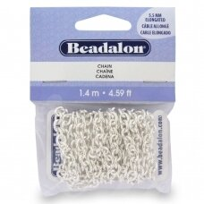 Beadalon® Chain Elongated Cable .217in/5.5mm Silver Plated (1.4m/4.59ft)
