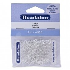 Beadalon® Chain Elongated Cable .236in/3.4mm Silver Plated (2m/6.56ft)