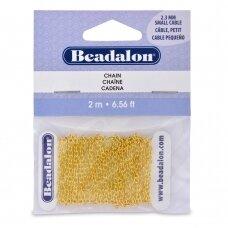 Beadalon® Cable pynimo smulki grandinėlė .091in/2.3mm aukso spalvos (2m/6.56ft)