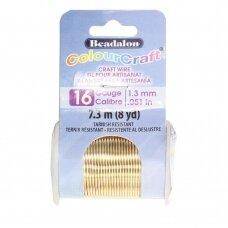 Beadalon® ColourCraft® vielutė 16 Gauge/.050in/1.3mm aukso spalvos (7m/8yd)