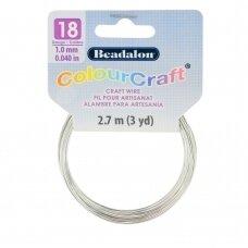 Beadalon® ColourCraft® vielutė 18 Gauge/.040in/1.02mm sidabro spalvos (2.7m/3yd)