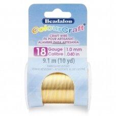Beadalon® ColourCraft® vielutė 18 Gauge/.040in/1.02mm šviesaus žalvario spalvos (9m/10yd)