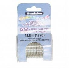 Beadalon® ColourCraft® vielutė 20 Gauge/.032in/0.81mm sidabro spalvos (13.8m/15yd)