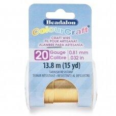 Beadalon® ColourCraft® vielutė 20 Gauge/.032in/0.81mm šviesaus žalvario spalvos (13.8m/15yd)