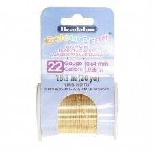 Beadalon® ColourCraft® vielutė 22 Gauge/.025in/0.64mm aukso spalvos (18m/20yd)