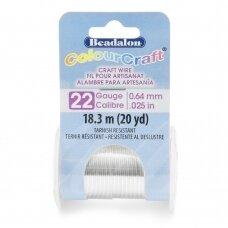 Beadalon® ColourCraft® vielutė 22 Gauge/.025in/0.64mm padengta sidabru (18m/20yd)